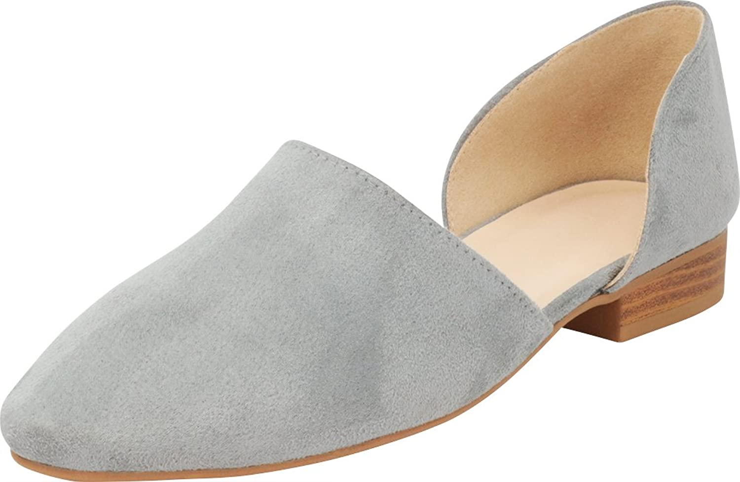 Cambridge Select Women's Almond Toe Side Cutout Stacked Low Heel Slip-On Shootie Loafer