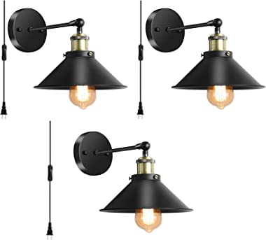 Wall Sconces Lighting Set of 3, Vintage Industrial Wall Lamp with Plug in Cord On/Off Switch, Swing Arm Wall Mounted Bedside