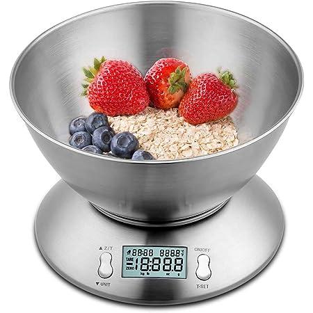 himaly Báscula Digital para Cocina con Tazón Removible, 11 lbs / 5 kg, Báscula Balanzas de Alta Precisión Balanza de Alimento Multifuncional, Peso de Cocina con LCD(Baterías Incluidas)