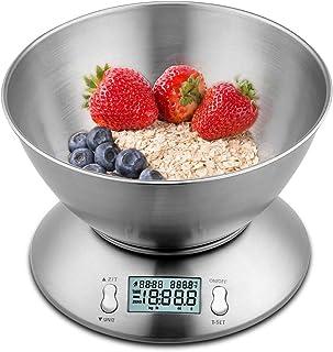 himaly Balance de Cuisine Electronique 5 kg/1g en Acier INOX avec Grand Ecran Rétroéclairé, Bol Amovible, Minuterie avec U...