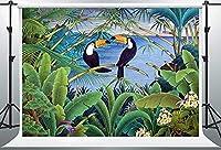 HD 7x5ftトロピカルビーチ背景ビニールヤシの木青い海背景パーティーバナーフォトスタジオ小道具BJLSPH218