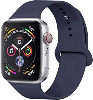YANCH Compatible with for Apple Watch Band 38mm 42mm 40mm 44mm, Soft Silicone Sport Band Replacement Wrist Strap Compatible with for iWatch Series 5/4/3/2/1, Nike+,Sport,Edition