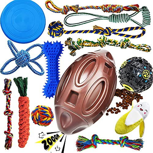 Dog Chew Toys for Puppies Teething, 14 Pack Puppy Chew Toys Dog Toy Bundle Chew Ball Dog Squeaky...
