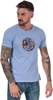 Pretty Green Mens Aster Applique Logo T-Shirt in Lilac.