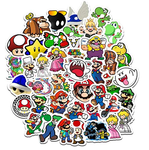 Mario Cute Stickers Hand Account Creative Cartoon Small Stickers Suitcase Phone Case Decoration Waterproof Stickers 50