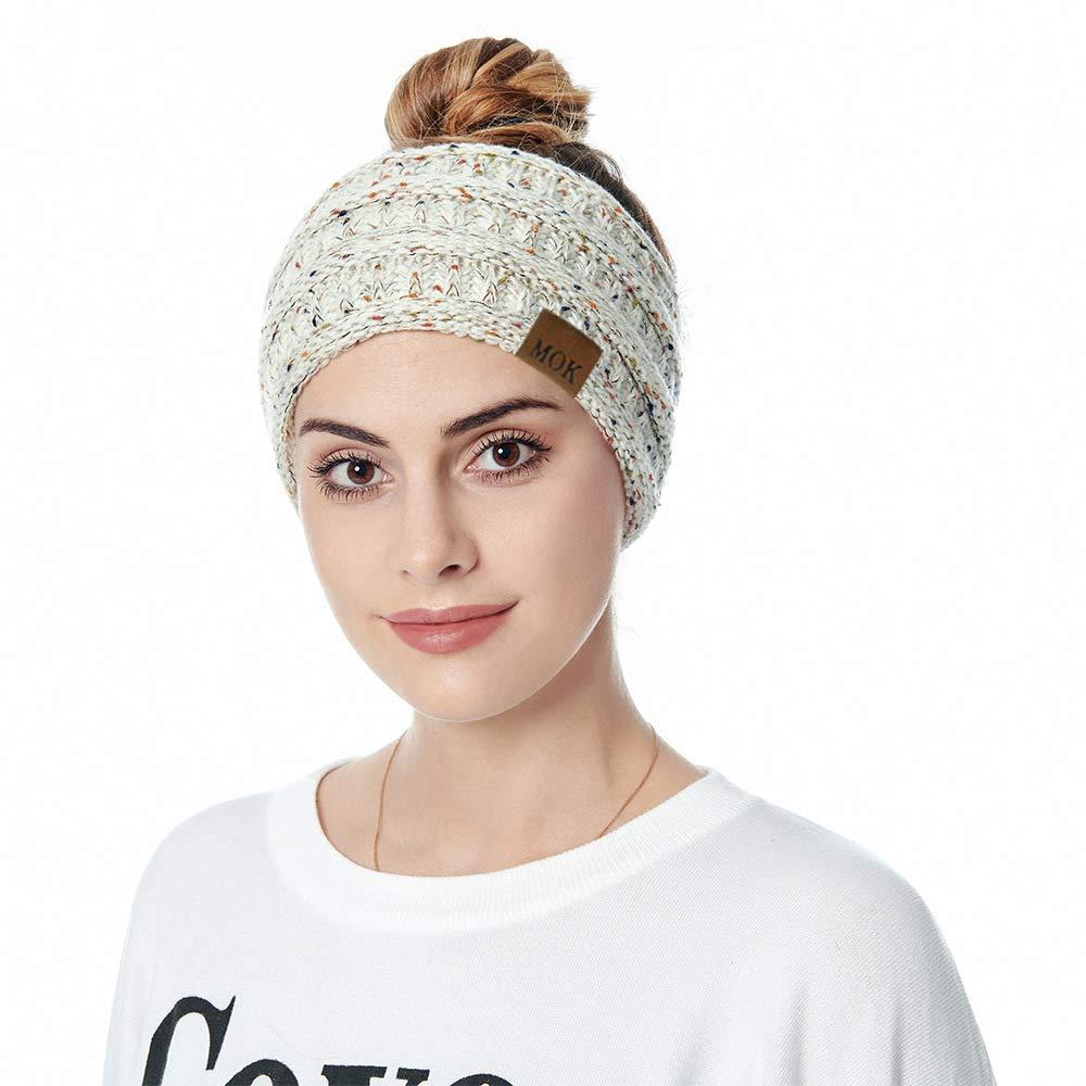 4Pcs Women Ear Warmers Headbands Cold Weather Running Headbands Women Winter Headband Knit Hair Band Head Wrap Fleece Lined Winter Ear Covers(Multi B)