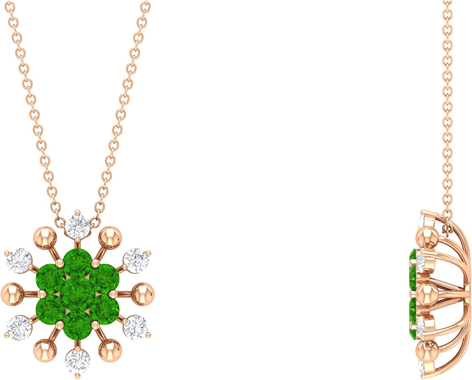 1.25 Fees free!! CT Created OFFicial store Tsavorite and Nec Floral Cluster Diamond Pendant