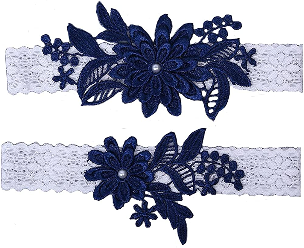 Wedding Garters for Bride Daisy Lace Bridal Garter Hand Sewn Faux Pearls Garter Set 2 Pieces