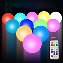 UNIQLED 12 Packs LED Floating Mood Lights Battery Operated 3 inch Color Changing Pool Balls with Remote Controller Waterproof LED Balls Garden Decor Bath Toys for Indoor Outdoor Decoration