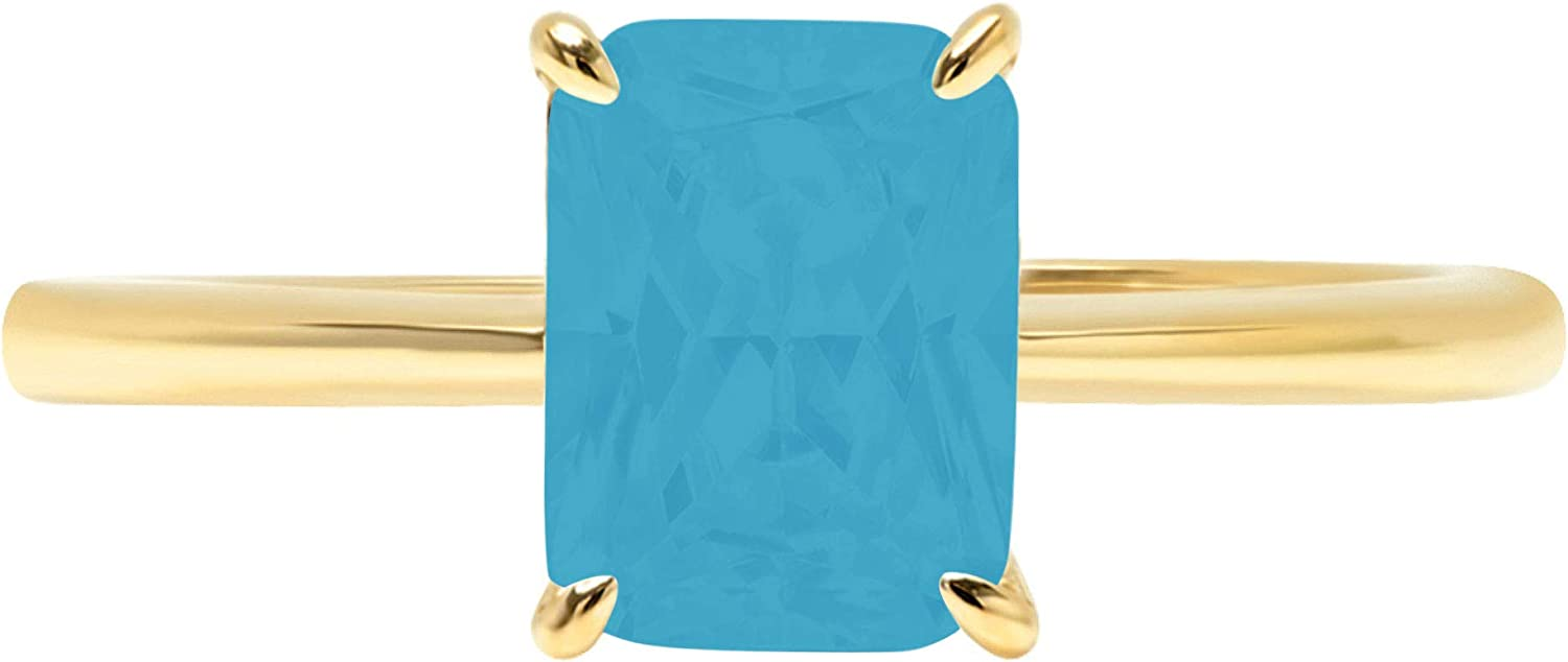 1.65ct Brilliant Radiant Cut Solitaire Flawless Simulated Cubic Zirconia Blue Turquoise Ideal 4-Prong Engagement Wedding Bridal Promise Anniversary Designer Ring Solid 14k Yellow Gold for Women