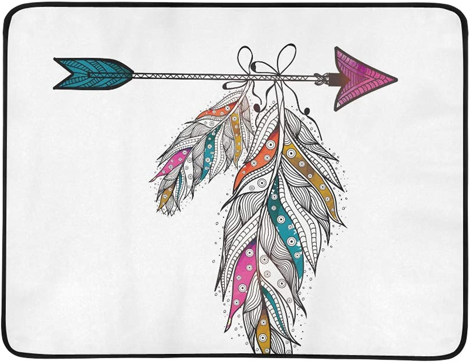 Boho Style Ornamental Feathers Hanging On Arrow Cr Pattern Portable and Foldable Blanket Mat 60x78 Inch Handy Mat for Camping Picnic Beach Indoor Outdoor Travel