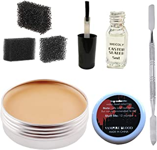 Makeup Skin Wax Special Effects Halloween Set Stage Fake Wound Scar,Moulding Scars Wax with Spatula, Black Stipple Sponge,Coagulated Blood Gel,5ml Castor Sealer,02