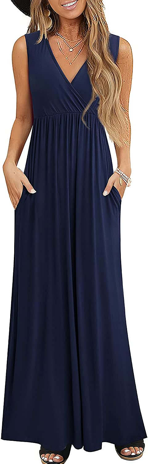 HOMEYEE Large special price Women Ranking integrated 1st place V Neck Loose Casual Maxi Dresses Pockets with Long