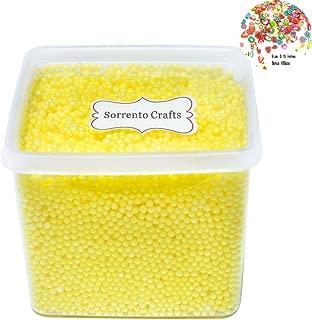 2-4mm(0.08-0.15 Inch) Mini Styrofoam Foam Balls Decorative Slime Ball with Fruit Slice DIY Wedding Party School Home Decoration 15000 Pcs (Light Yellow)