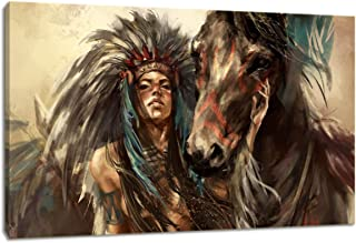 KALAWA Retro Native American Girl Feathered Women with Horse Modern Home Wall Decor Canvas Artworks Picture Canvas Wal Art Framed Ready to Hang(16''W x 24''H)