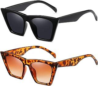 2 Pack Sunglasses for Women Classic Retro Designer Style...