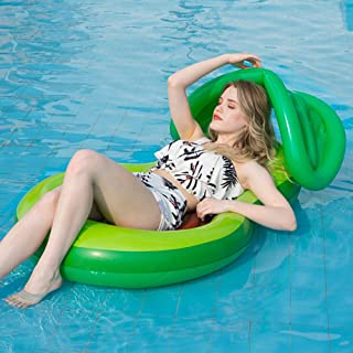 """Zcaukya Kids Avocado Pool Floatie with Canopy, 46.8""""x30.3"""" Inflatable Avocado Pool Float with Shade, Water Fun Large Blow Up Summer Beach Swimming Floaty Party Lounge Raft for Kids"""