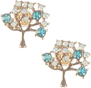 Gold Finish Simulated Aquamarine and Opal Tiny Tree Of Life Stud Earrings 14mm X 12mm 'Tree Of Life'