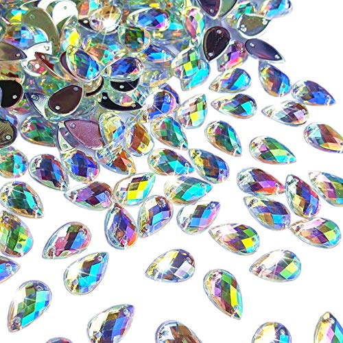 300Pcs 0.31x0.51? Drop Shape Crystal Yellow Clear Acrylic Sew On Rhinestones Flatback Sewing Stones for Clothes Dress Crafts Garments Accessories (AB)