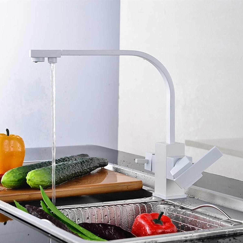 FZHLR Doppelfunktions-3-Wege-Wasserfilter Weies Küchenarmatur Marmor Reines Wasser Küchenarmatur 3-Wege-Funktion Füllstoff Küchenarmatur 360 Grad Schwenkbar
