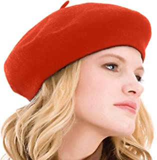 a394acf7ea83b Kimming Womens Beret 100% Wool French Beret Solid Color Beanie Cap Hat