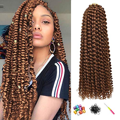 Ms.Priceless passion twist hair 18 Inch 7 Pack #30 color Water Wave crochet hair for Passion Twist Extensions Braiding Hair brown(22Strands/Pack) (#30)