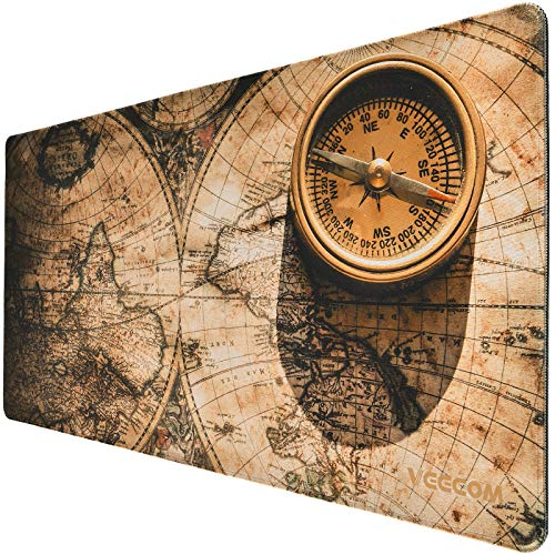 Gaming Mouse Pad, veecom Large Mouse Pad XL 31.5×15.75In, Big Mouse Pad for Computer, Thick Large Gaming Mousepad Vintage Map, Extended Keyboard Mouse Pads for Desk, Non Slip Mouse Mat (Vintage)