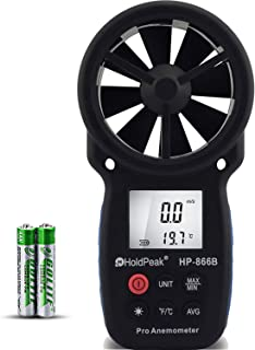 HOLDPEAK 866B Digital Anemometer Handheld Wind Speed Meter for Measuring Wind Speed, Temperature and Wind Chill with Backlight and Max/Min