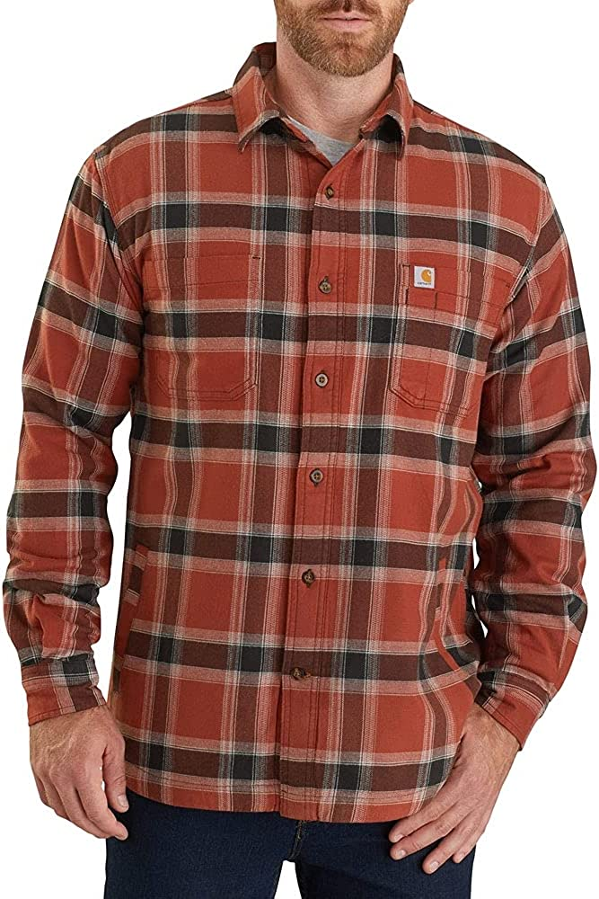 Carhartt Men's Rugged Flex Relaxed Flannel Fleece-Lined Large discharge 2021new shipping free shipping sale Plai Fit