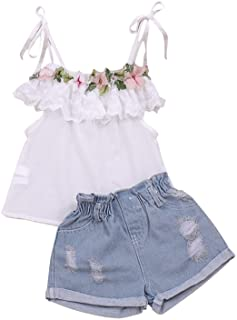 Fashion Toddler Baby Girl Clothes Ruffle T-Shirt Top and Jeans Short Sets Kids Girl 2pcs Outfits