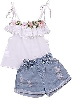 أزياء طفل طفل فتاة ملابس كشكش تي شيرت الأعلى والجينز مجموعات قصيرة للأطفال الفتيات ملابس 2 قطعة