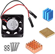 Dorhea Raspberry Pi 3 Model B Cooling Fan with Heatsinks Raspberry Pi Cooler Fan 3.3V 5V DC Quiet Fan and Heat Sink for Raspberry Pi 3 B+, Pi 3 B, Pi 2, Pi B+, Pi Zero/Zero W,Robot Project (1Pack)