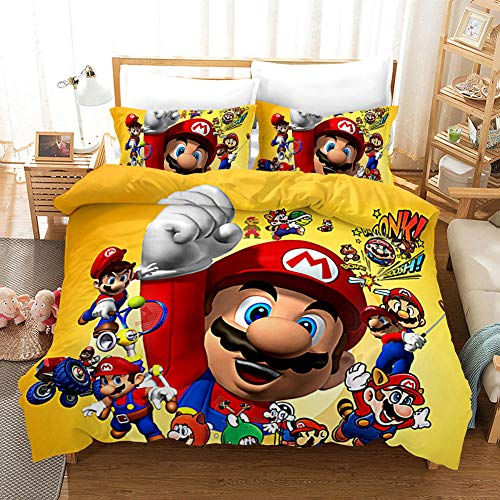 GuoDamei Duvet Cover 220x240 cm Mario Game 3 Pcs Bedding King Bed Set with Zipper Closure 1 Microfiber Quilt Cover and 2 Pillowcases 50x75 cm Ultra Soft Hypoallergenic