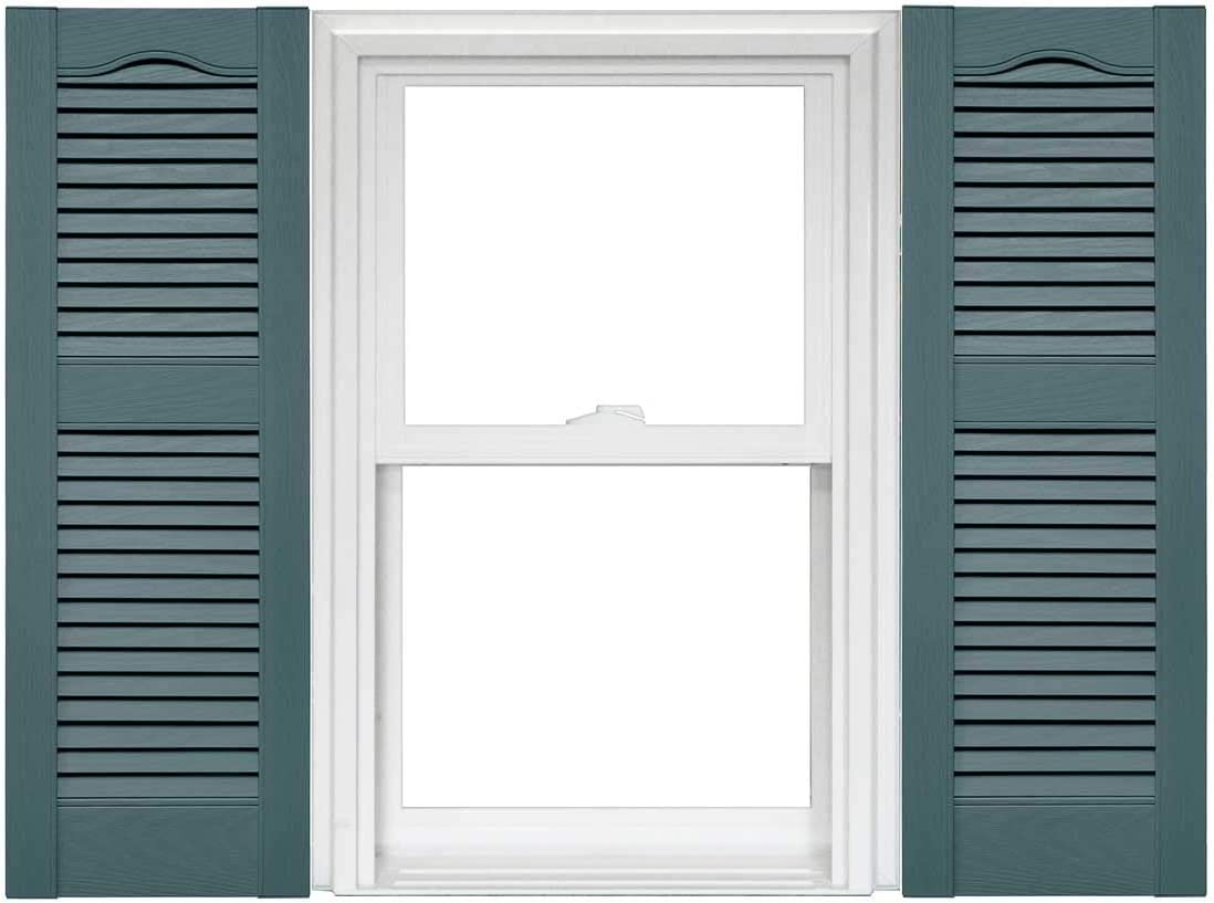 Mid America Cathedral Open Louver Vinyl Standard Shutter 1 Pair 14.5 x 43 030 Paintable