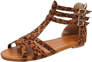 comprar comparacion Luckycat Zapatos Planos de Mujer Sandalias Mujer Verano 2019 Zapatos Mujer Fiesta Sandalias de Vestir Slippers Estampado D...