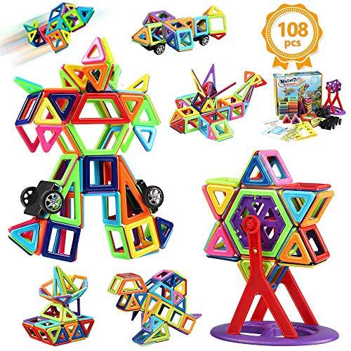 Magnetic Building Blocks, 108Pcs Magnet Block Set Gift Kids 3D Magnetic Construction Shape Games for...