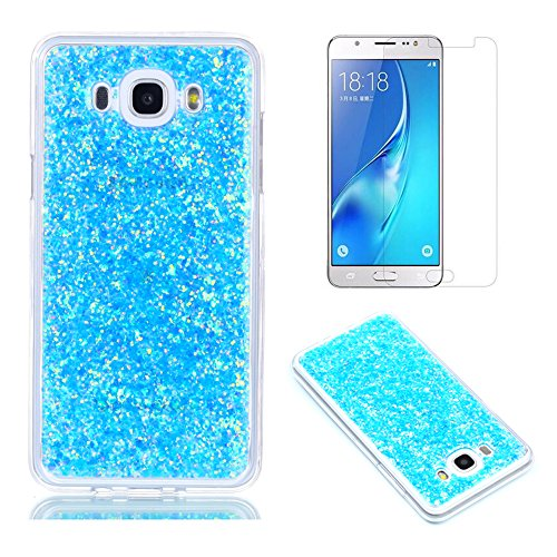 Pour Coque Samsung Galaxy J5 2016 J510 Silicone Souple Étui avec Écran Protecteur, OYIME [Paillette Brillante Bleu] Housse Glitter Luxe Ultra Fine Transparent Couverture Anti-Scratch Flexible