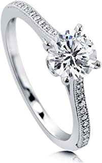 Rhodium Plated Sterling Silver Round Cubic Zirconia CZ Solitaire Promise Engagement Ring 1.18 CTW