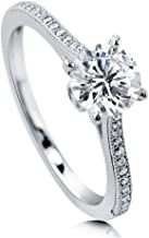 BERRICLE Rhodium Plated Sterling Silver Round Cubic Zirconia CZ Solitaire Promise Engagement Ring 1.18 CTW