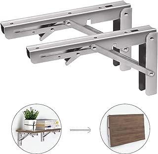 "YX 16"" Folding Shelf Brackets, Heavy Duty Stainless Steel Wall Mounted Shelf Bracket, Space Saving Sturdy Triangle Metal Frame for DIY Table Work, Pack of 2"