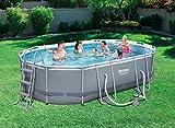 Bestway Power Steel Frame Pool Set, oval, grau, 488 x 305 x 107 cm