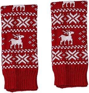 Holibanna, Calentadores de pierna navideños para mujer, tejido alto, calcetines sueltos con lazo para fiestas, baile, yoga, color rojo