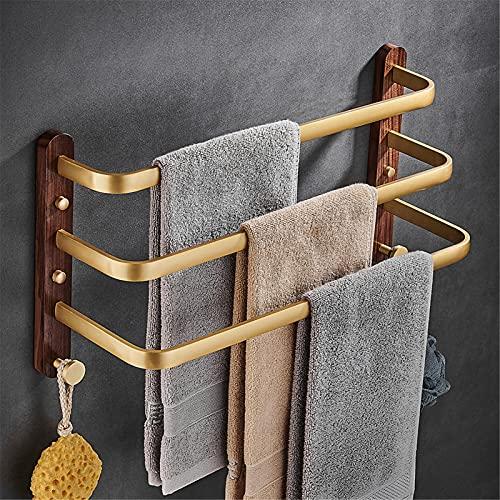 Toallero montado en la pared Soporte de toalla de nogal placa base de acero inoxidable toallero barra de toalla de baño, 3 capas, 60 cm