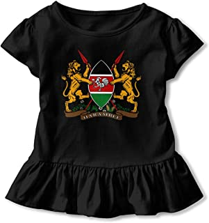 Coat of Arms of Kenya Design Toddler Flounced T Shirts Cotton Tops for 2-6T Baby Girls