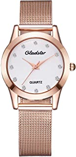 Gladster Women Bracelet Watch Diamond Dial Ladies Watches for Women Fashion Sports Waterproof Stainless Steel Mesh Wristwatch Dress og Quartz Watch