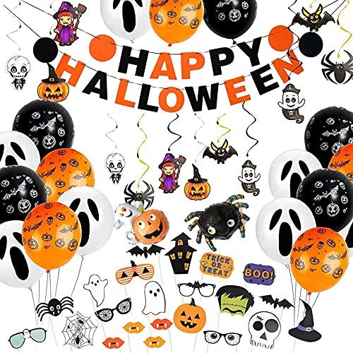 Decoracion Halloween Casa - Fiesta Halloween Decoracion, pancartas, globos de murciélagos, accesorios para fotos, juego de decoración para fiestas de Halloween, para la mesa y el jardín