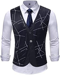 GRMO Men Big & Tall V Neck Slim Fit Casual Sleeveless Dress Business Suit Vest Waistcoat