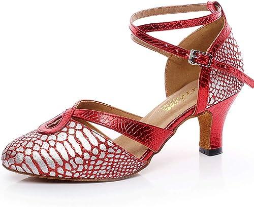 XIAOY Hauts de Danse Latine Latine Chaussures pour Femmes PU Milieu Haute Talon Cross Sangle Paillettes 6CM  service attentionné