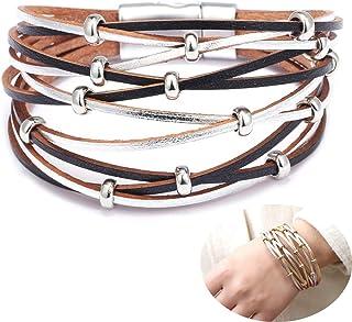 Jurxy Multilayer Leather Wrap Bracelet Silver Beaded Bohemian Braided Cuff Bangle Wristbands Wide Belt Jewelry for Women G...