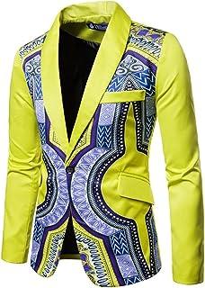 Mens Suit Jacket Blazer Slim Fit Ethnic Style Print Casual Shawl Lapel Jackets Costumes